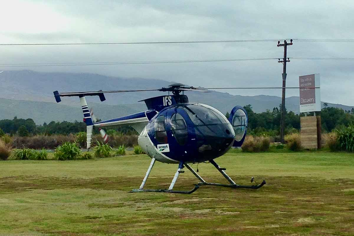 Aeroworks ZK-IFS at Discovery Lodge helipad