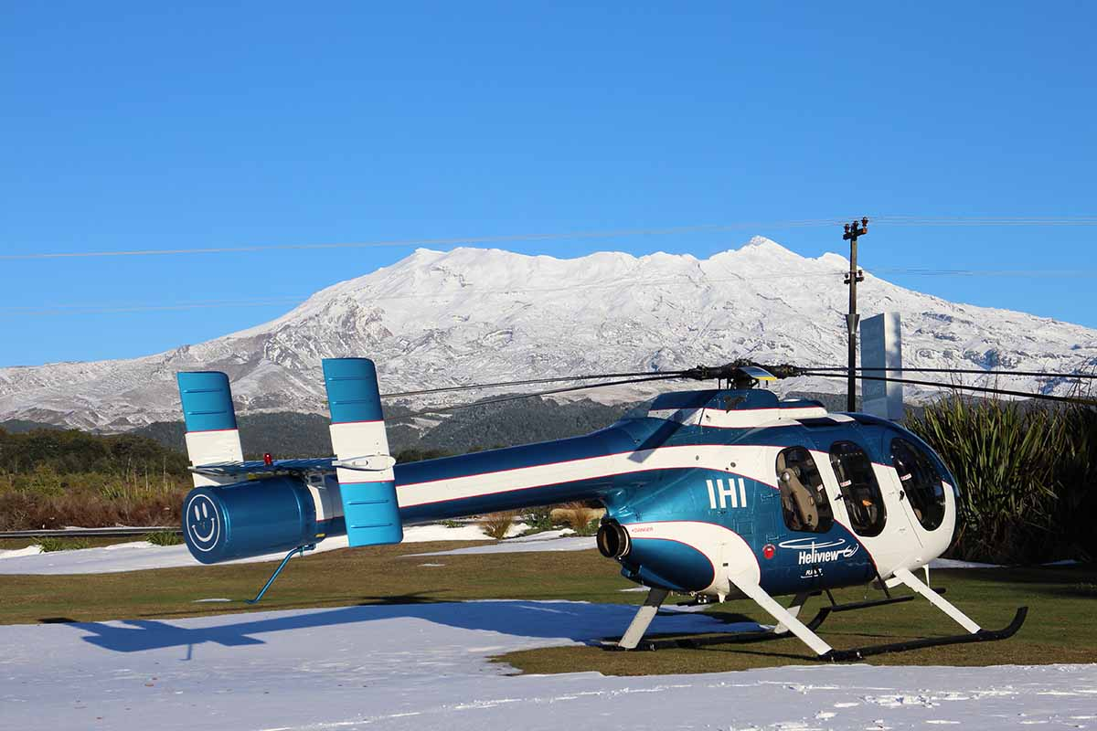 Heliview ZK-IHI with snow at Mt Ruapehu