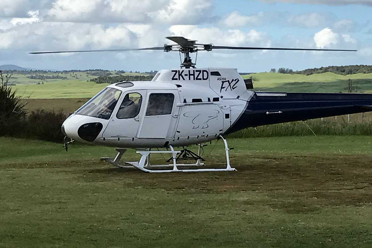 Helicopter Services ZK-HZD at Discovery helipad with Taurewa Station