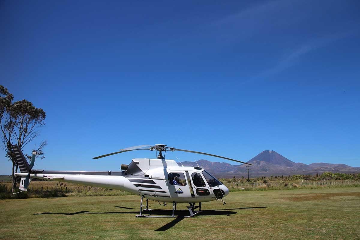 Helisika ZK-HIU At Discovery Lodge with Mt Ngauruhoe