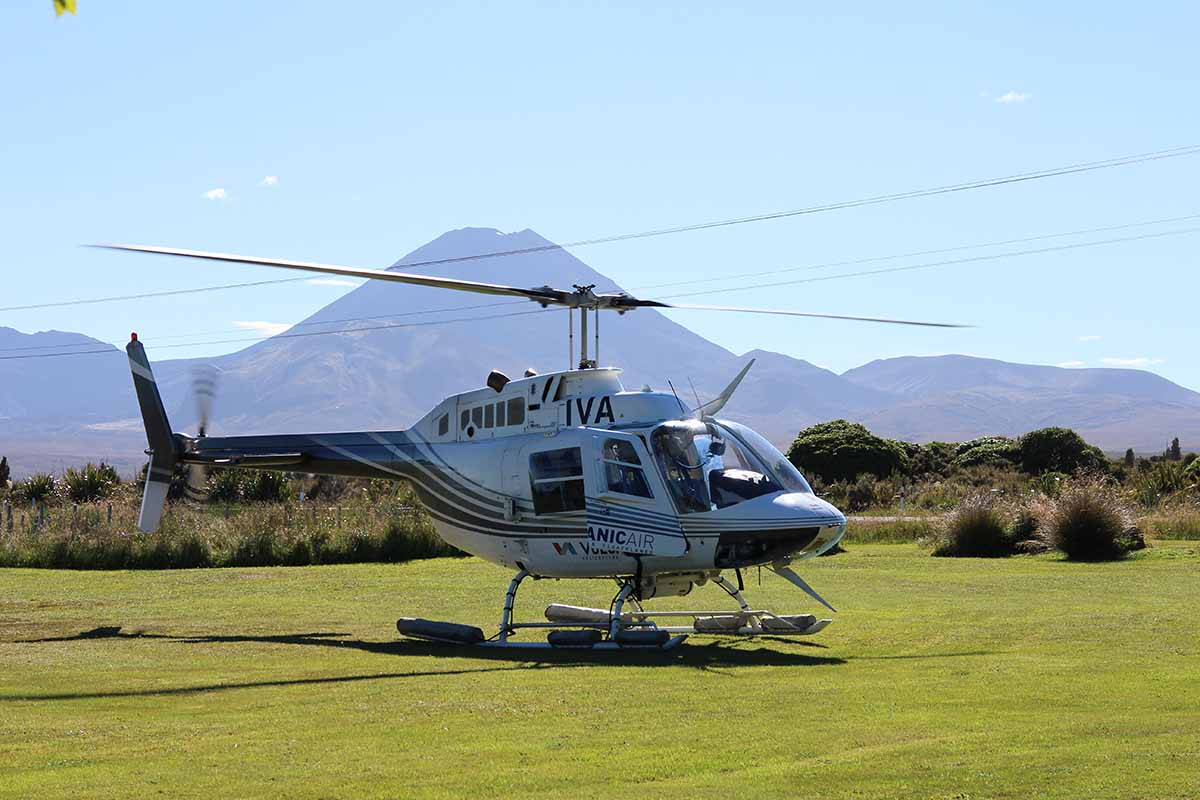 Volcanic Air ZK-IVA & Mt Ngauruhoe from Discovery helipad
