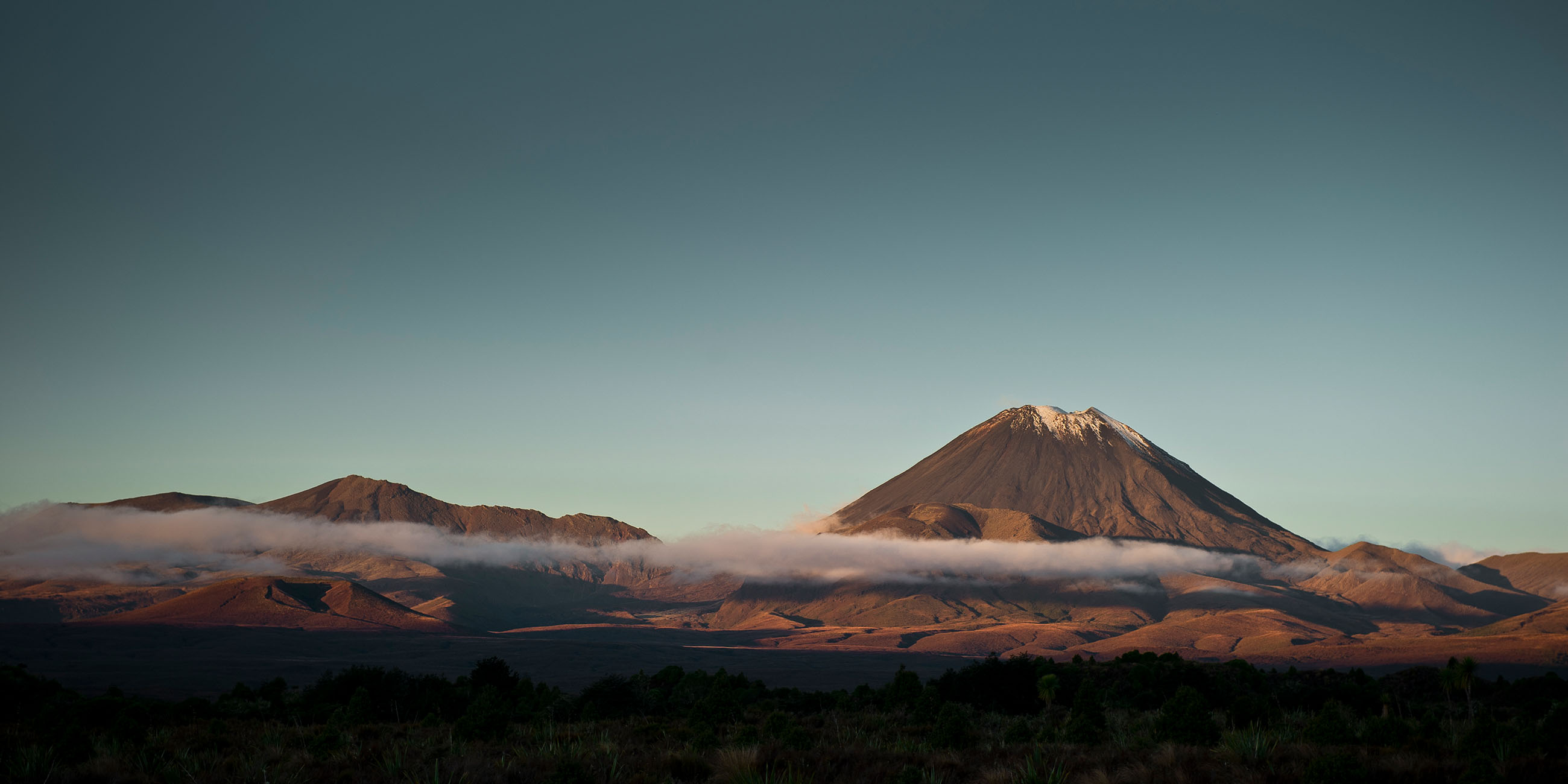 The view of Mt Tongariro and Mt Ngauruhoe from Discovery Lodge