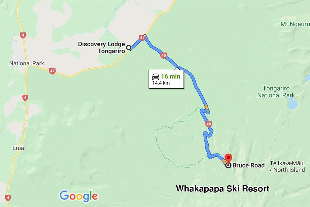 A google map showing proximity of Discovery lodge to Whakapapa Mt Ruapehu