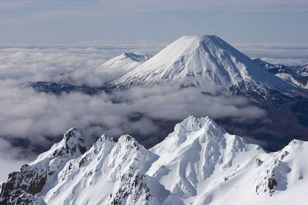 A view of Mt Ngauruhoe with the Pinnacles in the foreground at Whakapapa Mt Ruapehu