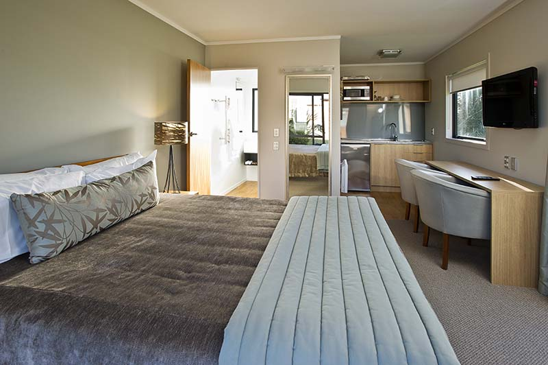 Interior of Discovery Lodge chalet studio at Tongariro National Park