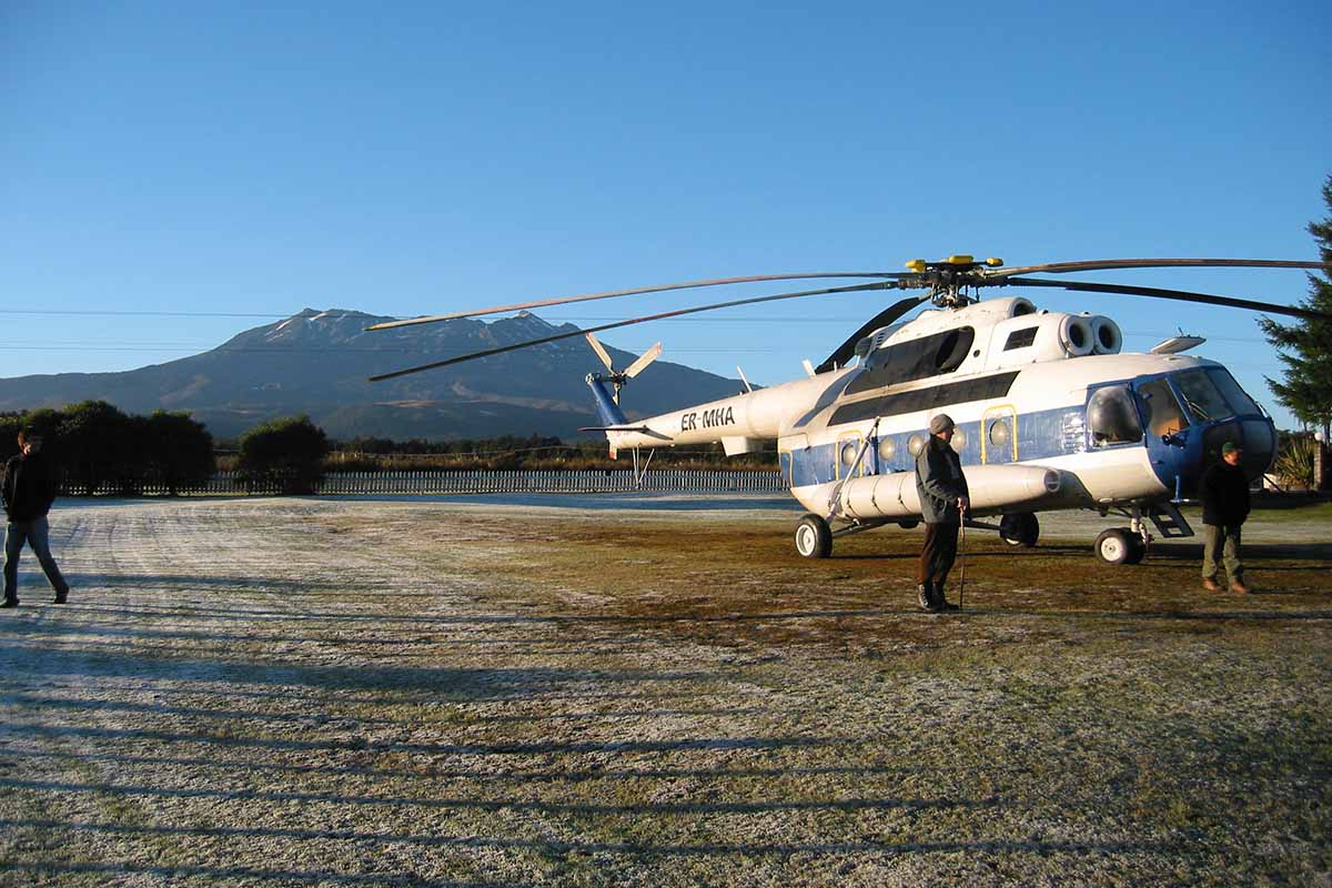 Helicopter Services ER-MHA Mil-8 at Discovery helipad with Mt Ruapehu