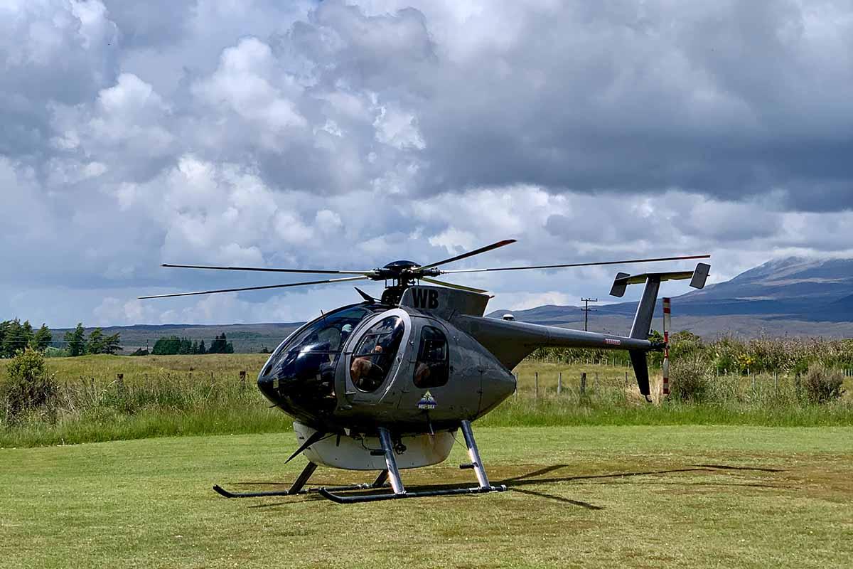 Helisika ZK-HWB at Discovery Tongariro helipad