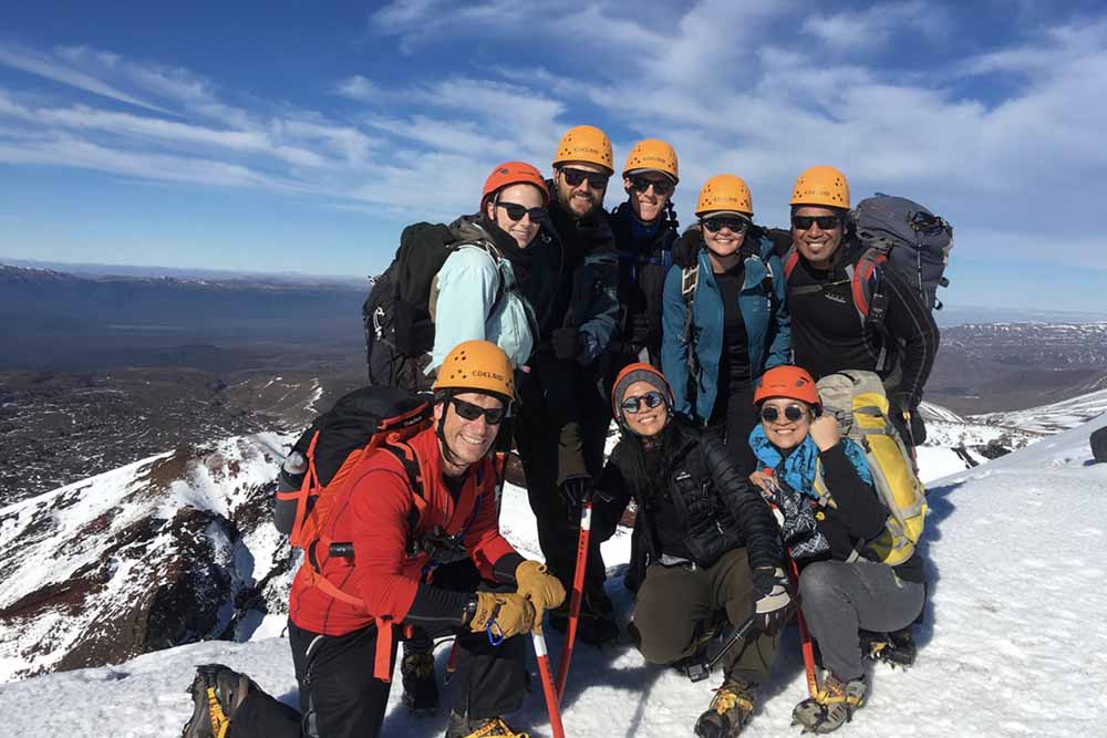 Guided group on the Tongariro Alpine Crossing during winter