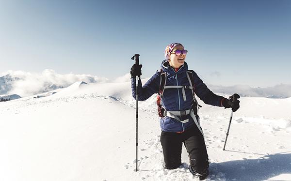 Happy lady Tongariro Alpine Crossing winter